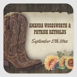 Western Cowboy Boots Sunflower Wedding Favor Stickers