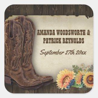 Western Cowboy Boots Sunflower Wedding Favor Stickers