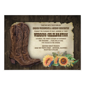Western Cowboy Boots Sunflower Wedding Invitations