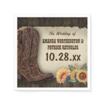 Western Cowboy Boots Sunflower Wedding Napkins