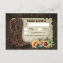 Western Cowboy Boots Sunflower Wedding RSVP Cards
