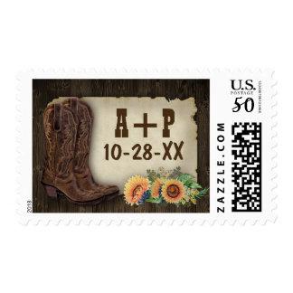 Western Cowboy Boots Sunflower Wedding Stamps