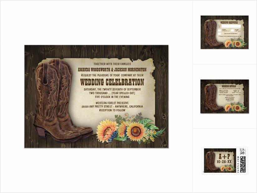 Western Cowboy Boots Sunflower Wedding Invitations Set