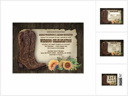 Western Cowboy Boots Sunflower Wedding Suite