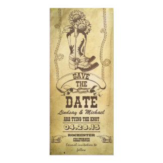 """western cowboy boots vintage save the date cards 4"""" x 9.25"""" invitation card"""