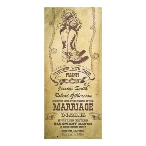 "Western Cowboy Boots Vintage Wedding Invitations 4"" X 9.25"