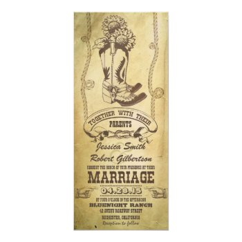 western cowboy boots vintage wedding invitations