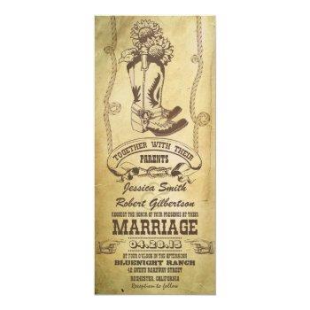 western cowboy boots vintage wedding invitations