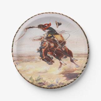 Western Cowboy Bronc Rider Party Plates