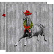 Western Cowboy Christmas Horse with Wreath Card