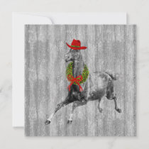Western Cowboy Christmas Horse with Wreath Holiday Card