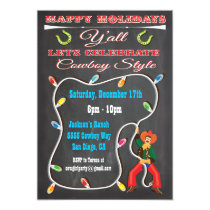 Western Cowboy Christmas Party Invitations