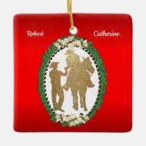 Western Cowboy Cowgirl Horse Ceramic Ornament