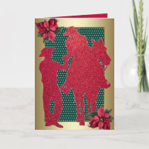 Western Cowboy Cowgirl Horse Holiday Card
