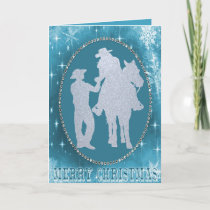 Western Cowboy Cowgirl Horse Merry Christmas Holiday Card