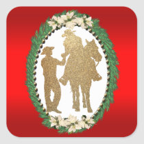 Western Cowboy Cowgirl Horse Square Sticker