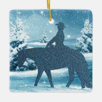 Western Cowboy Cowgirl Horse Winter Snow Scene Ceramic Ornament