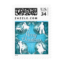 Western Cowboy Cowgirl Roping Christmas Postage