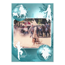 Western Cowboy Cowgirl Roping Holiday Card 2 Sided