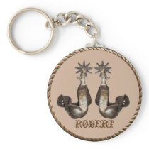Western Cowboy Cowgirl Spurs With Rope Border Keychain