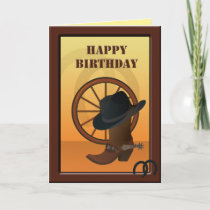 Western Cowboy Custom Birthday Card