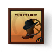 Western Cowboy Custom Button
