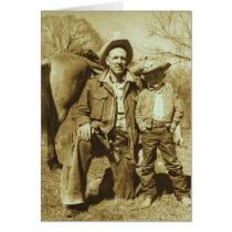 Western Cowboy Father Son Vintage Photo Card