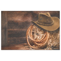 Western Cowboy Hat Barn Hay Tissue Decoupage Tissue Paper