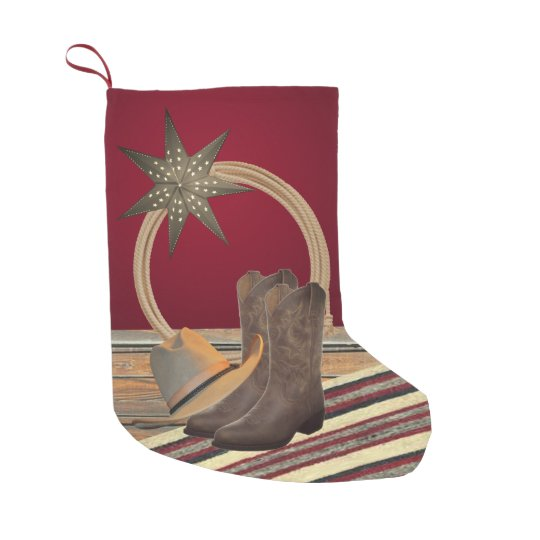 1a01031d797 Western Cowboy Hat Boots Rope and Star Small Christmas Stocking