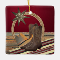 Western Cowboy Hat Boots Rope and Star Square Ceramic Ornament