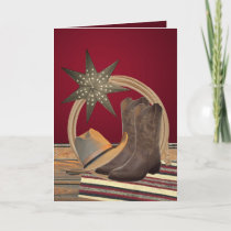 Western Cowboy Hat Boots Rope Star Christmas Card