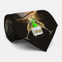 Western Cowboy Hat Champagne Fireworks Necktie