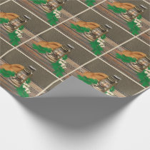 Western Cowboy Hat Lantern Faux Wood Leather Print Wrapping Paper