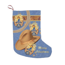 Western Cowboy Hat Rope Faux Denim Leather Small Christmas Stocking