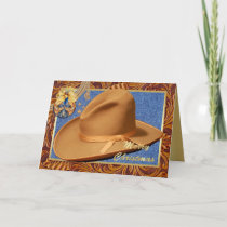 Western Cowboy Hat Rope Leather Merry Christmas Holiday Card