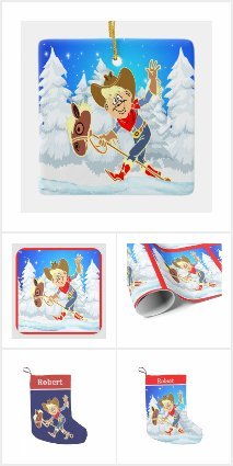 Western Cowboy Kid On Stick Horse Winter Scene