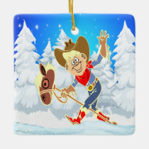Western Cowboy Kid On Stick Horse Winter Scene Squ Ceramic Ornament