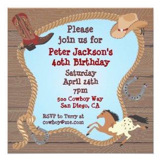 Western Cowboy Lasso Party Invitation