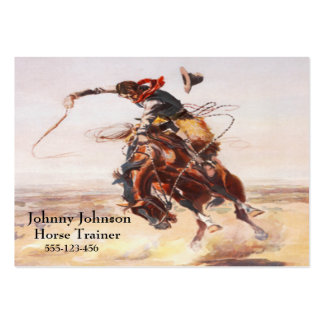 Western Cowboy On Bucking Horse Template Large Business Card