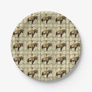 Western Cowboy Party Paper Plates Vintage Cowboy  sc 1 st  Zazzle & Vintage Cowboy Plates | Zazzle