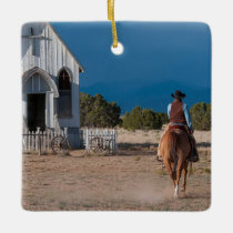 Western Cowboy Riding Horse To Church Ceramic Ornament