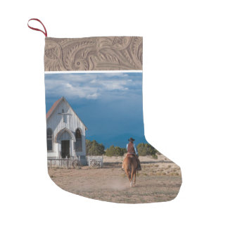 Western Cowboy Riding Horse To Church Faux Leather Small Christmas Stocking