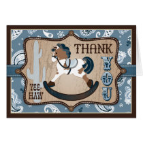 Western Cowboy Rocking Horse Bandanna Thank You Card
