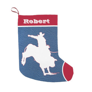Western Cowboy Rodeo Bull Riding  Faux Leather Small Christmas Stocking
