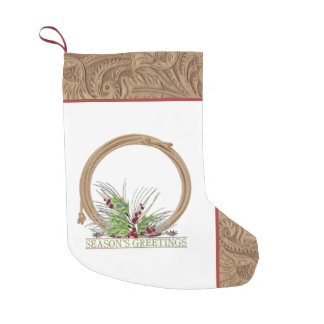 Western Cowboy Rope And Spurs Faux Leather Small Christmas Stocking
