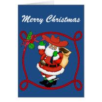 Western Cowboy Santa Card