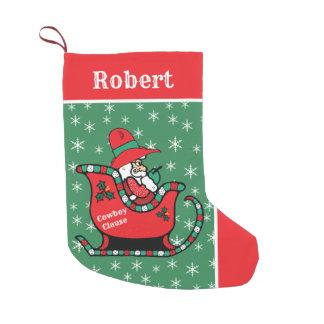Western Cowboy Santa In Sleigh Small Christmas Stocking