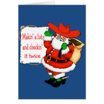 Western Cowboy Santa Making A List Card