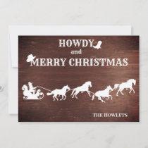Western Cowboy Santa Sled Horse Christmas Holiday