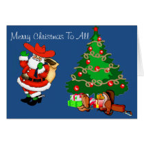 Western Cowboy Santa With Christmas Tree Card